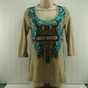 Harley Davidson Cross w/Wing - Lace back Top NWT M